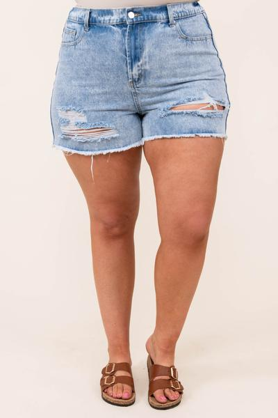 bottoms, shorts, jean, light wash, distressed