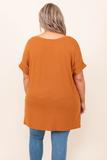 top, almond, short sleeve, comfy, flowy