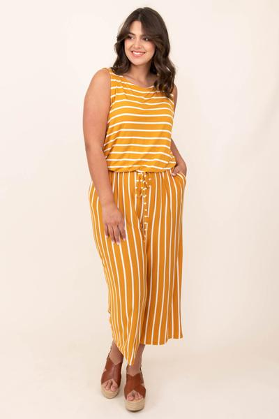 dress, jumpsuit, yellow, striped, tank, golden