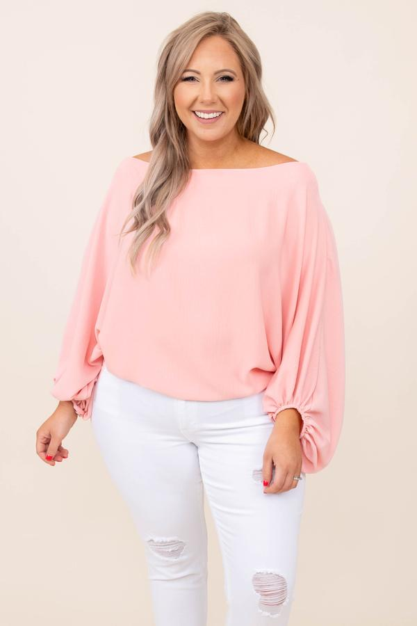top, basic , casual, long sleeve, rose, pink, off the shoulder