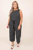 dress, jumpsuit, black, ivory, striped, tank sleeve, comfy