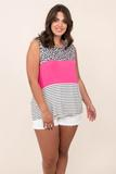 top, casual, white, colorblock, short sleeve, off white, leopard, stripes, pink