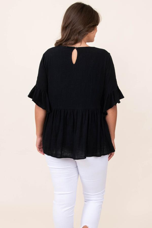 top, casual, babydoll, black, embroidered, flutter sleeve
