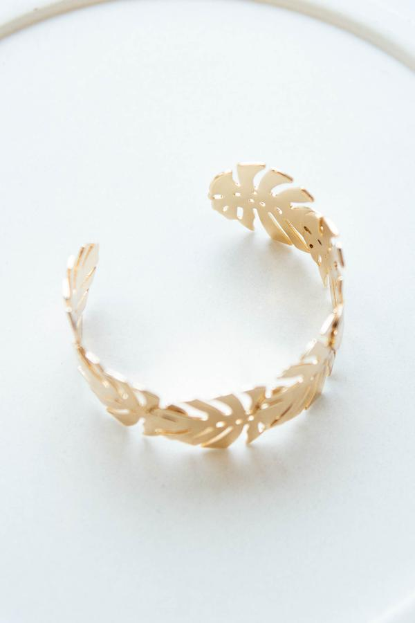 accessories, bracelet, cuff, gold, novelty, palm leaves