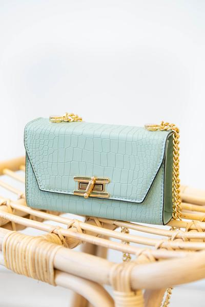 accessory, handbag, green, croc, mint