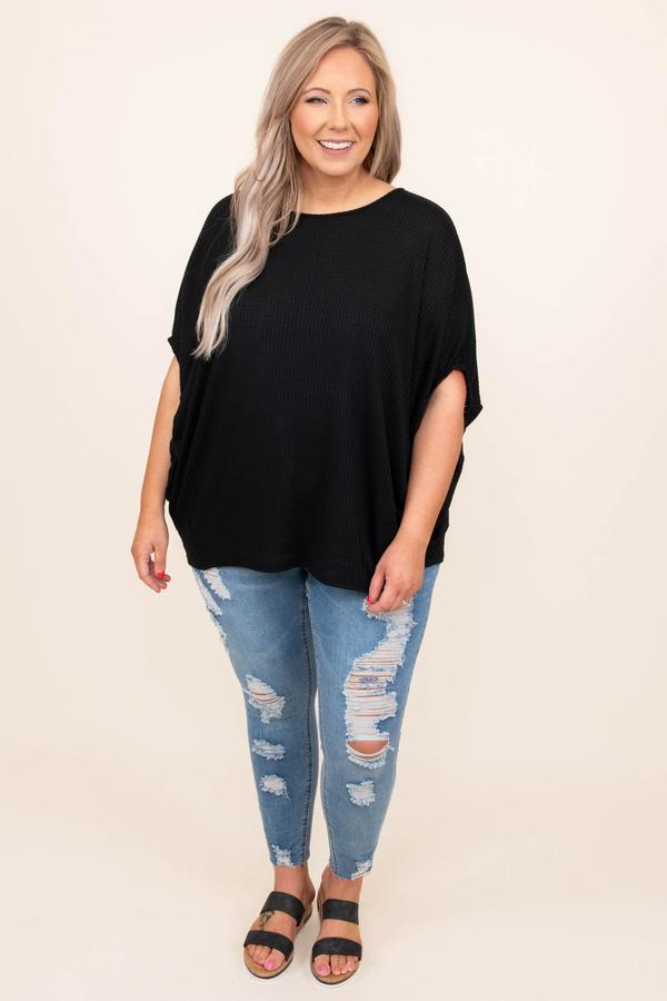 top, basic, black, solid, batwing