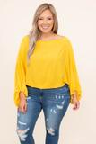 top, long sleeve, basic, apricot, yellow, flowy, comfy