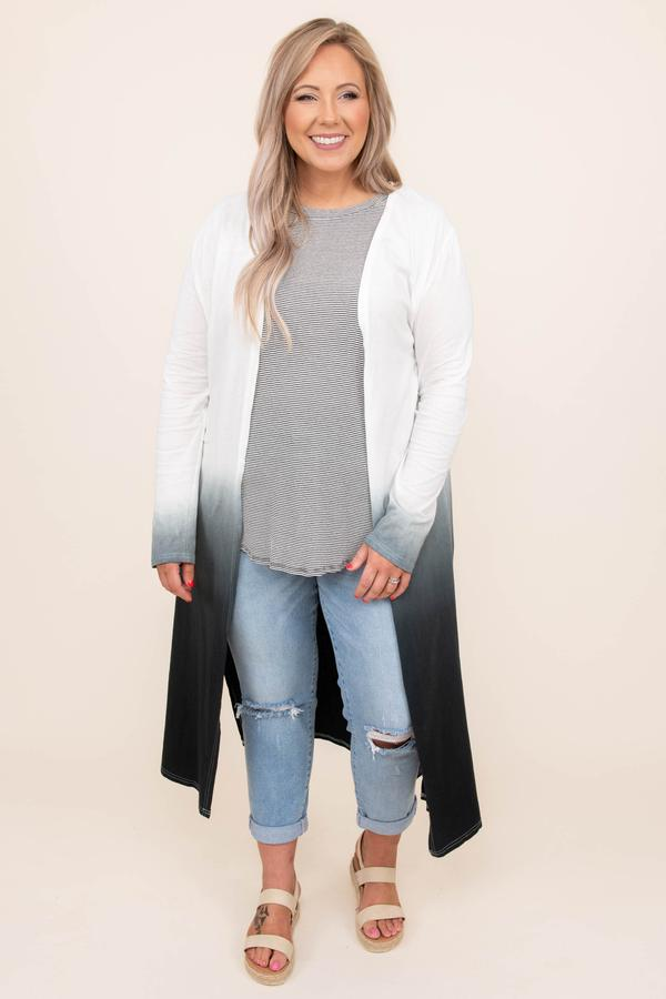 top, cardigan, off white, white, ombre, long sleeve, grey
