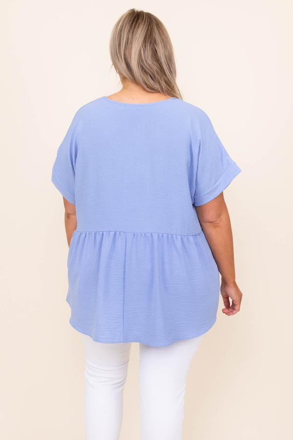 top, casual, babydoll, blue, solid, short sleeve