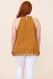 top, tank, yellow, embroidered, halter, marigold