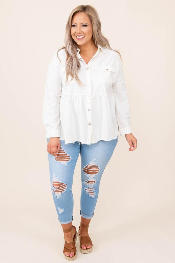 tops, coat/jacket, white, solid, long sleeve, button up