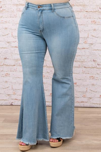 bottoms, jeans, blue, frayed, flare