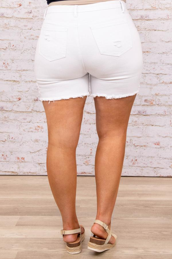 bottoms, short, denim, white