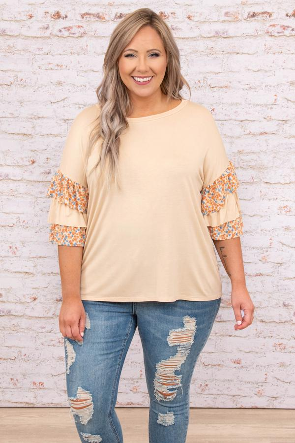 top, casual, brown, floral, flutter sleeve, natural