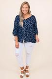 top, shirt, blouse, blue, floral, three quarter sleeve, navy, white
