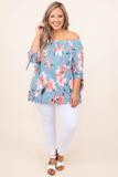 top, shirt, blouse, blue, floral, half sleeve