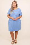 dress, basic, blue, solid, short sleeve, chambray
