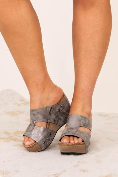 shoes, wedges, pewter, solid, silver
