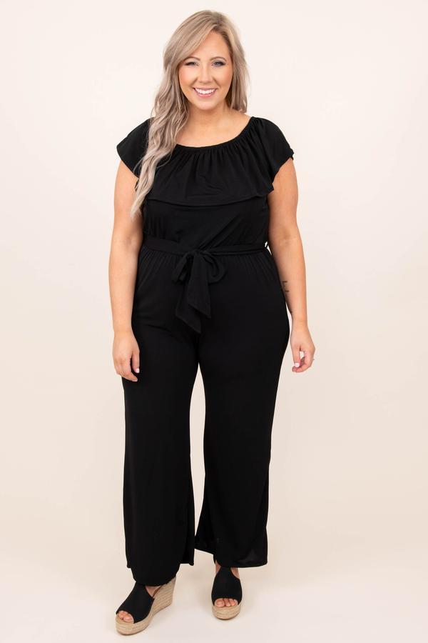 dress, jumpsuit, black, solid, short sleeve
