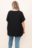 top, basic, black, short sleeve, plain