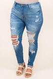 bottoms, distressed, jeans, blue skinny, medium wash