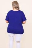top, casual, royal, blue, solid, short sleeve