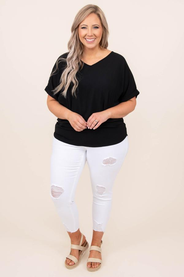 top, casual, black, solid, short sleeve, comfy