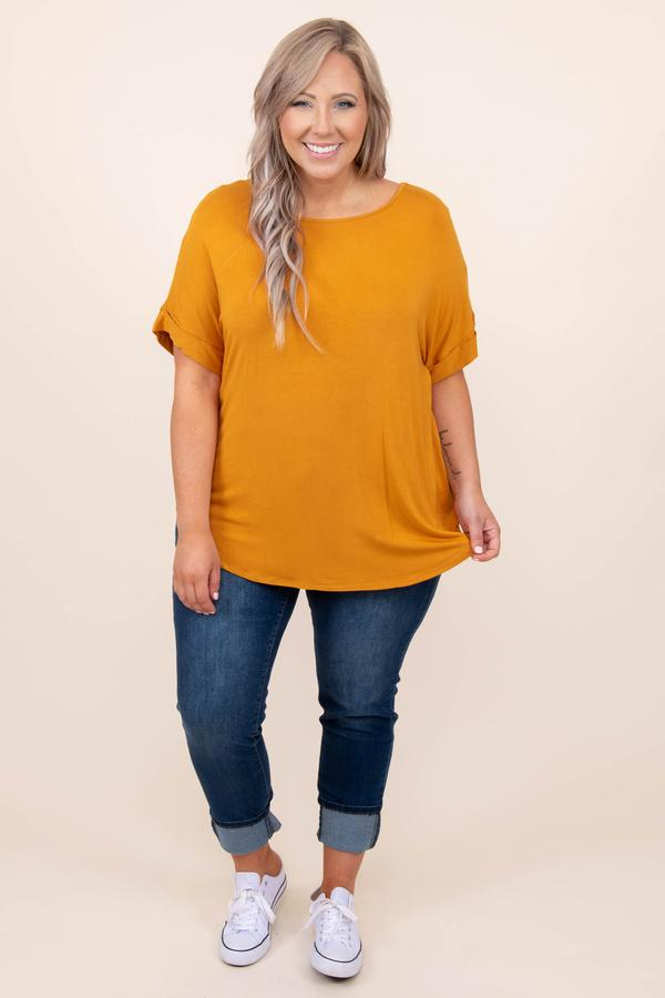 top, basic, golden, yellow, solid, short sleeve, comfy