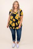 top, casual, black, yellow, floral, flowers, short sleeve