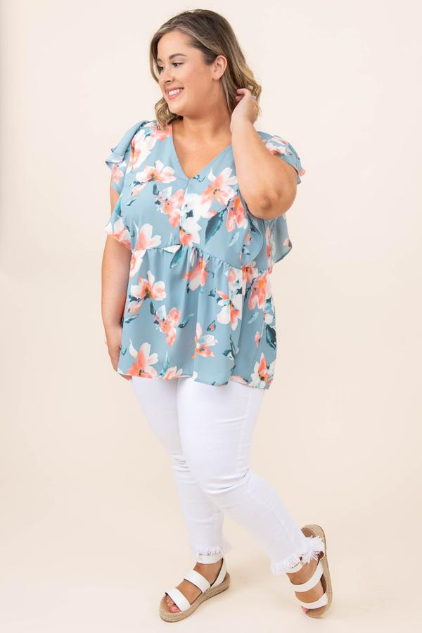 top, blouse, floral, mint, peach, ruffle, short sleeve