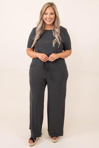 dress, jumpsuit, gray, solid, short sleeve, charcoal, soft