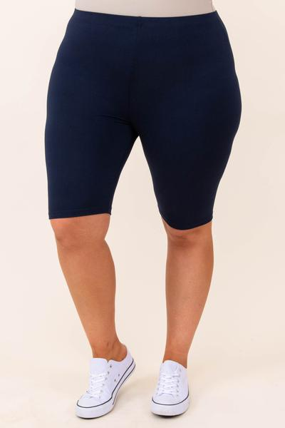 bottoms, shorts, biker shorts, blue, navy, solid