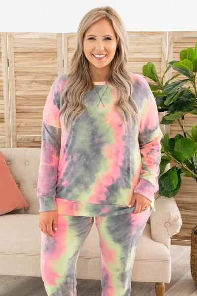 top, lounge top, gray, tie dye, long sleeve, grey, pink, yellow, green