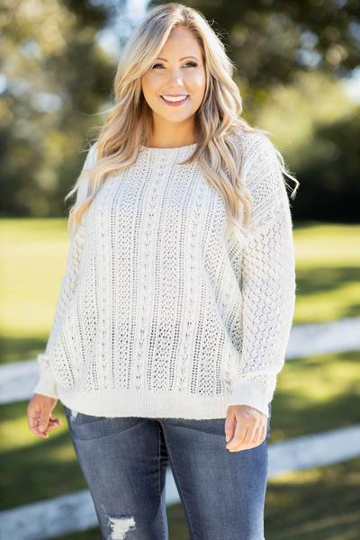 top, sweater, white, knit, lace, long sleeve