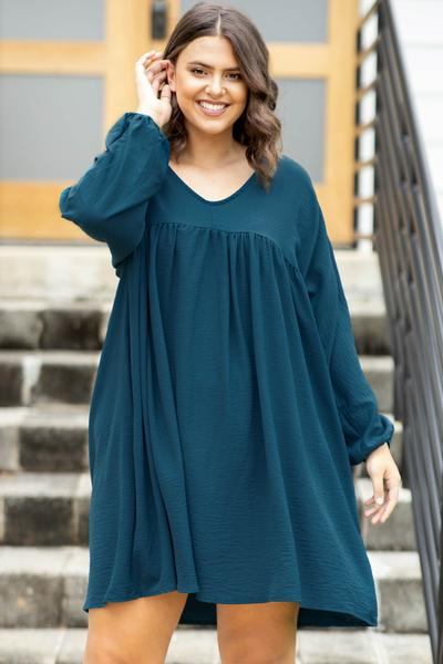 long sleeves, balloon sleeves, dres,, teal, baby doll, short, above the knee, flowy, figure flattering