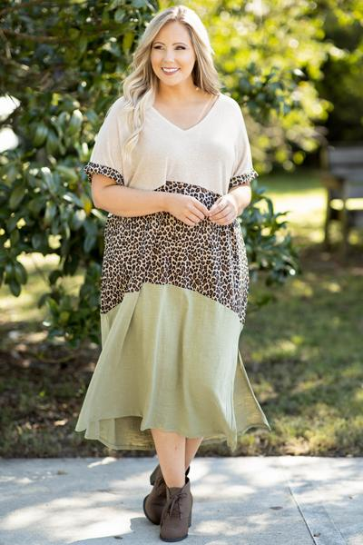dress, maxi dress, green, sage, leopard, colorblock, short sleeve