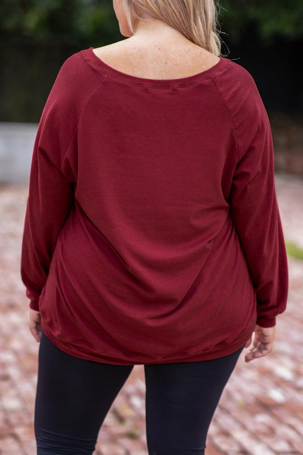 wine, top, comfy, long sleeve, slouchy, round neck, figure flattering