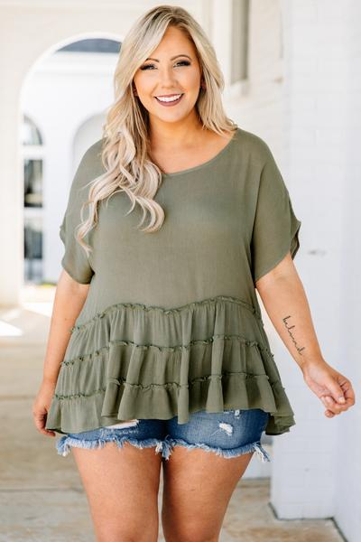 tunic, short sleeve, babydoll, tiered, ruffles, long, green, comfy