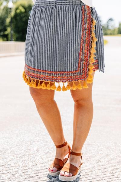 skirt, above the knee, striped, tassel hemline, navy, orange, mustard, striped, embroidery, wrap skirt, longer in the front
