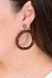 accessory, earrings, closed hoops, brown, beaded
