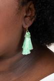accessory, earrings, huggie, mint, green, tassel