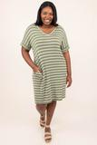 dress, short, striped, short sleeve , light olive, white