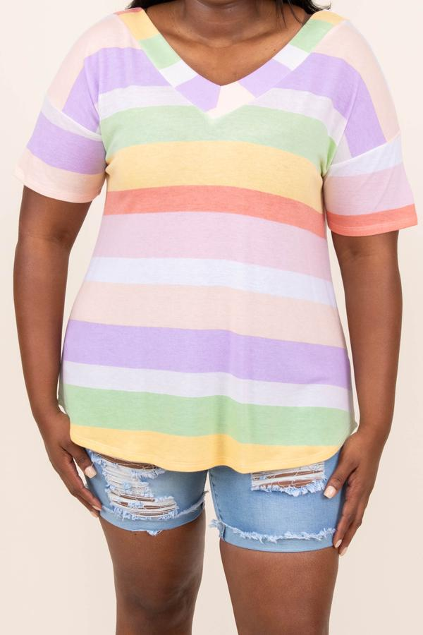 top, casual, short sleeve, multi color