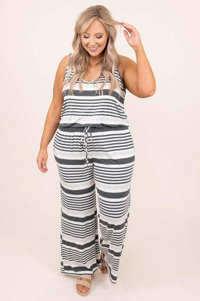 jumpsuit, tank, striped, drawstring, comfy, charcoal