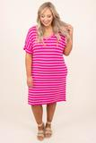 dress, casual, pink, striped, short sleeve, white, hot pink