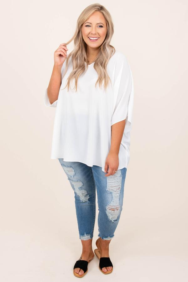 top, plain, white, basic, short sleeve, flowy, v neck, ivory