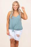 top, tank, basic, plain, blue grey
