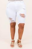 bottoms, capris, shorts, white, distressed