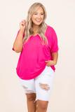 top, casual, basic, short sleeve, hot pink, plain