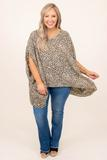 top, casual, taupe, polka dot, short sleeve, flowy, comfy